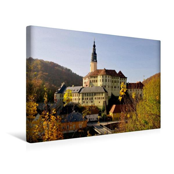 Premium Textil-Leinwand 45 cm x 30 cm quer, Schloss Weesenstein | Wandbild, Bild auf Keilrahmen, Fertigbild auf echter Leinwand, Leinwanddruck - Coverbild