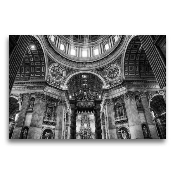 Premium Textil-Leinwand 75 cm x 50 cm quer, Petersdom im Vatikan | Wandbild, Bild auf Keilrahmen, Fertigbild auf echter Leinwand, Leinwanddruck - Coverbild