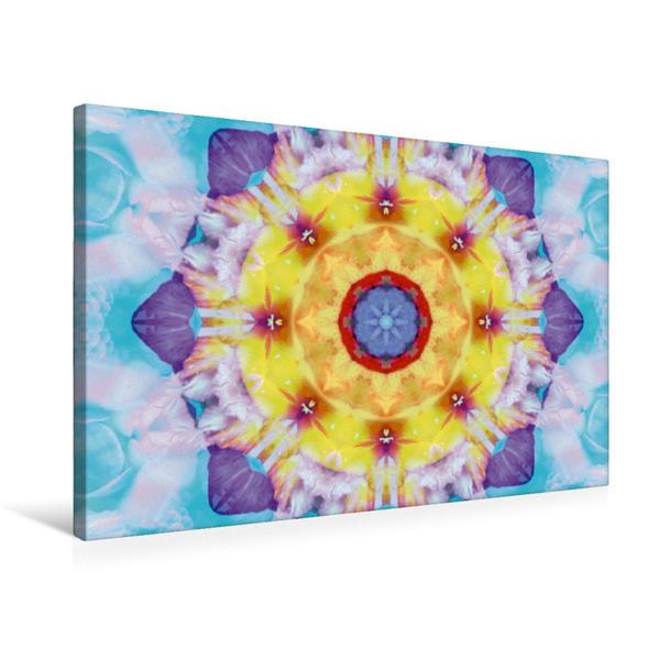 Premium Textil-Leinwand 75 cm x 50 cm quer, Energie Mandala Gelb Violet   Wandbild, Bild auf Keilrahmen, Fertigbild auf echter Leinwand, Leinwanddruck - Coverbild