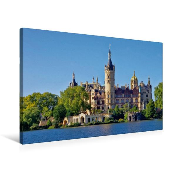 Premium Textil-Leinwand 75 cm x 50 cm quer, Schweriner Schloss   Wandbild, Bild auf Keilrahmen, Fertigbild auf echter Leinwand, Leinwanddruck - Coverbild