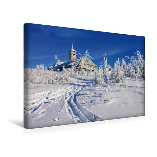 Premium Textil-Leinwand 45 cm x 30 cm quer, Fichtelberg im Erzgebirge   Wandbild, Bild auf Keilrahmen, Fertigbild auf echter Leinwand, Leinwanddruck - Coverbild