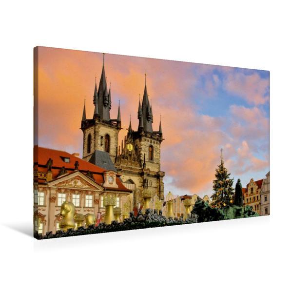 Premium Textil-Leinwand 90 cm x 60 cm quer, Weihnachtsmarkt vor der Teynkirche, Prag   Wandbild, Bild auf Keilrahmen, Fertigbild auf echter Leinwand, Leinwanddruck - Coverbild