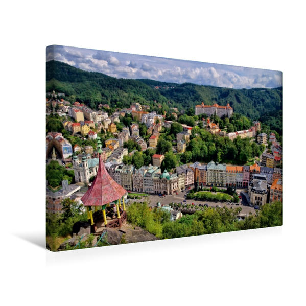 Premium Textil-Leinwand 45 cm x 30 cm quer, Karlovy Vary   Wandbild, Bild auf Keilrahmen, Fertigbild auf echter Leinwand, Leinwanddruck - Coverbild
