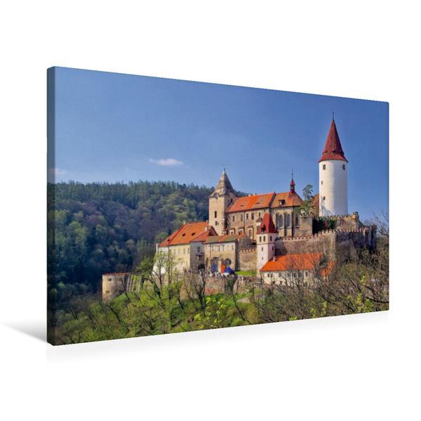 Premium Textil-Leinwand 75 cm x 50 cm quer, Burg Krivoklát | Wandbild, Bild auf Keilrahmen, Fertigbild auf echter Leinwand, Leinwanddruck - Coverbild