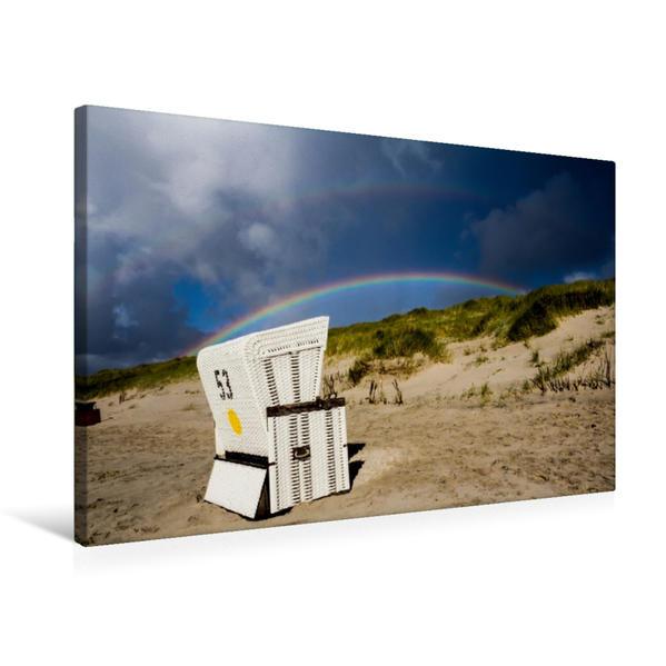 Premium Textil-Leinwand 75 cm x 50 cm quer, Strandkorb im Regenbogen | Wandbild, Bild auf Keilrahmen, Fertigbild auf echter Leinwand, Leinwanddruck - Coverbild