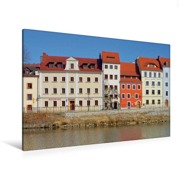 Premium Textil-Leinwand 120 cm x 80 cm quer, Häuserzeile an der Neiße | Wandbild, Bild auf Keilrahmen, Fertigbild auf echter Leinwand, Leinwanddruck - Coverbild