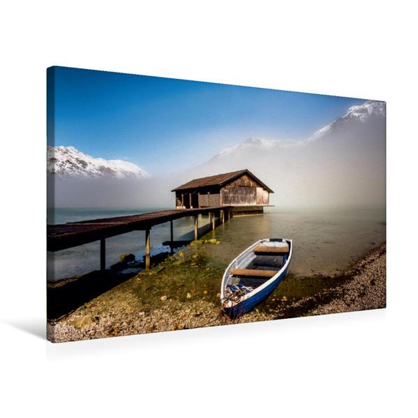 Premium Textil-Leinwand 75 cm x 50 cm quer, Nebelstimmung am Achensee   Wandbild, Bild auf Keilrahmen, Fertigbild auf echter Leinwand, Leinwanddruck - Coverbild