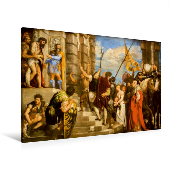 Premium Textil-Leinwand 120 cm x 80 cm quer, Ein Motiv aus dem Kalender Tiziano Vecellio - Tizian | Wandbild, Bild auf Keilrahmen, Fertigbild auf echter Leinwand, Leinwanddruck - Coverbild