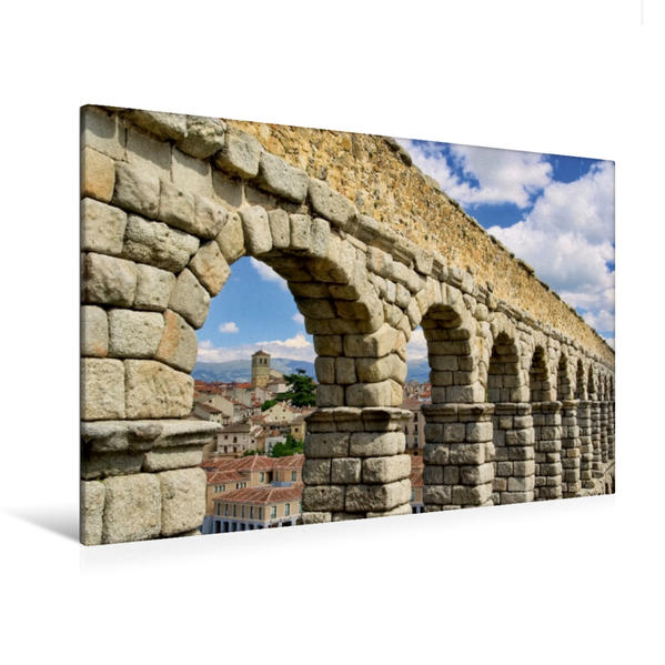 Premium Textil-Leinwand 120 cm x 80 cm quer, römisches Aquädukt in Segovia, Spanien   Wandbild, Bild auf Keilrahmen, Fertigbild auf echter Leinwand, Leinwanddruck - Coverbild