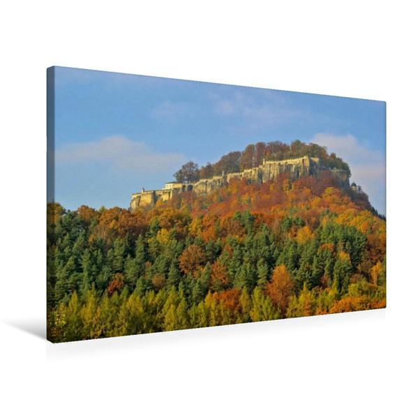 Premium Textil-Leinwand 75 cm x 50 cm quer, Festung Königstein | Wandbild, Bild auf Keilrahmen, Fertigbild auf echter Leinwand, Leinwanddruck - Coverbild