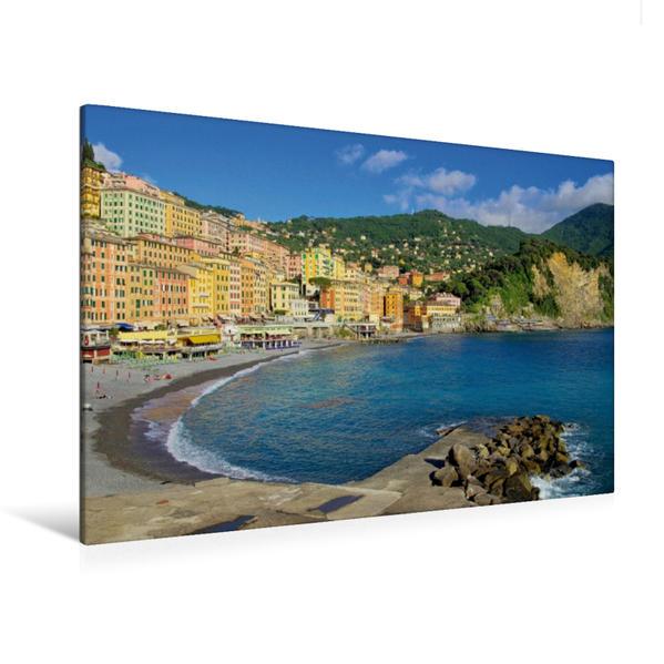 Premium Textil-Leinwand 120 cm x 80 cm quer, Der Strand Camoglis   Wandbild, Bild auf Keilrahmen, Fertigbild auf echter Leinwand, Leinwanddruck - Coverbild