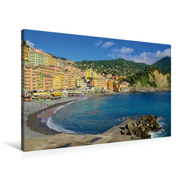 Premium Textil-Leinwand 90 cm x 60 cm quer, Der Strand Camoglis | Wandbild, Bild auf Keilrahmen, Fertigbild auf echter Leinwand, Leinwanddruck - Coverbild