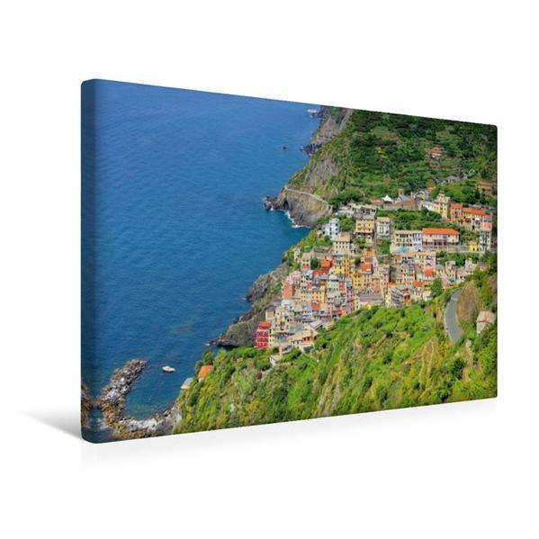 Premium Textil-Leinwand 45 cm x 30 cm quer, Blick auf Riomaggiore | Wandbild, Bild auf Keilrahmen, Fertigbild auf echter Leinwand, Leinwanddruck - Coverbild