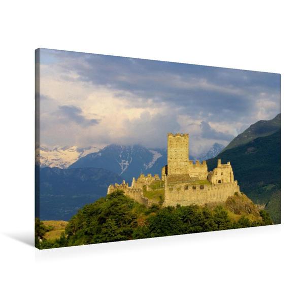 Premium Textil-Leinwand 90 cm x 60 cm quer, Castello di Cly | Wandbild, Bild auf Keilrahmen, Fertigbild auf echter Leinwand, Leinwanddruck - Coverbild