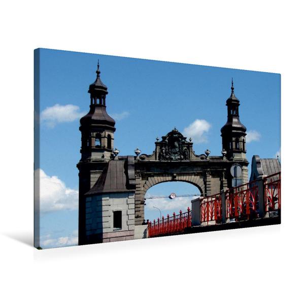 Premium Textil-Leinwand 75 cm x 50 cm quer, Königin-Luise-Brücke in Tilsit/Sowjetsk | Wandbild, Bild auf Keilrahmen, Fertigbild auf echter Leinwand, Leinwanddruck - Coverbild