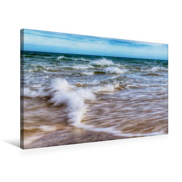 Premium Textil-Leinwand 75 cm x 50 cm quer, Die Wellen von Grenen | Wandbild, Bild auf Keilrahmen, Fertigbild auf echter Leinwand, Leinwanddruck - Coverbild
