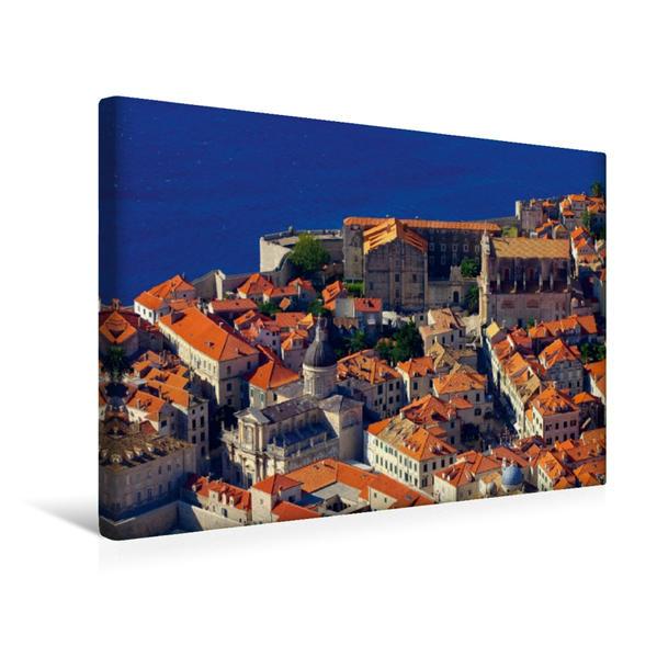 Premium Textil-Leinwand 45 cm x 30 cm quer, Blick auf die Kirchen Dubrovniks | Wandbild, Bild auf Keilrahmen, Fertigbild auf echter Leinwand, Leinwanddruck - Coverbild