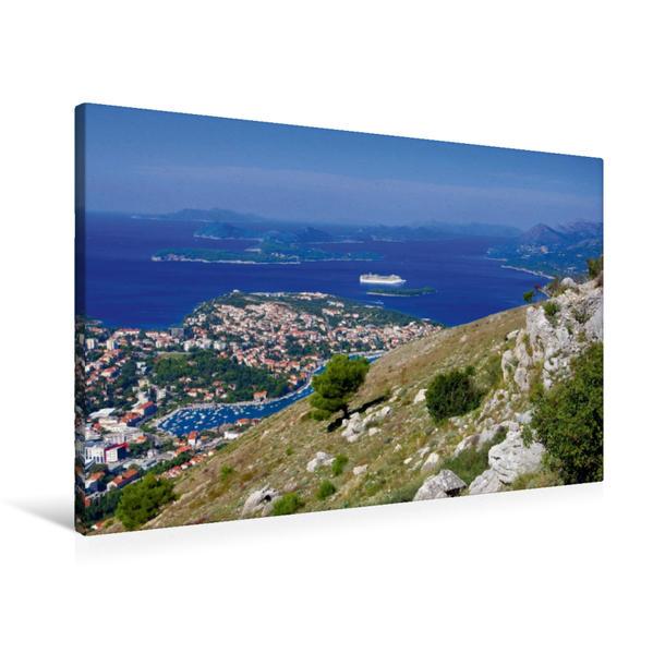 Premium Textil-Leinwand 90 cm x 60 cm quer, Dubrovnik und die Elaphiten   Wandbild, Bild auf Keilrahmen, Fertigbild auf echter Leinwand, Leinwanddruck - Coverbild