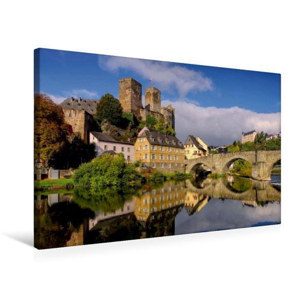 Premium Textil-Leinwand 75 cm x 50 cm quer, Burg Runkel | Wandbild, Bild auf Keilrahmen, Fertigbild auf echter Leinwand, Leinwanddruck - Coverbild