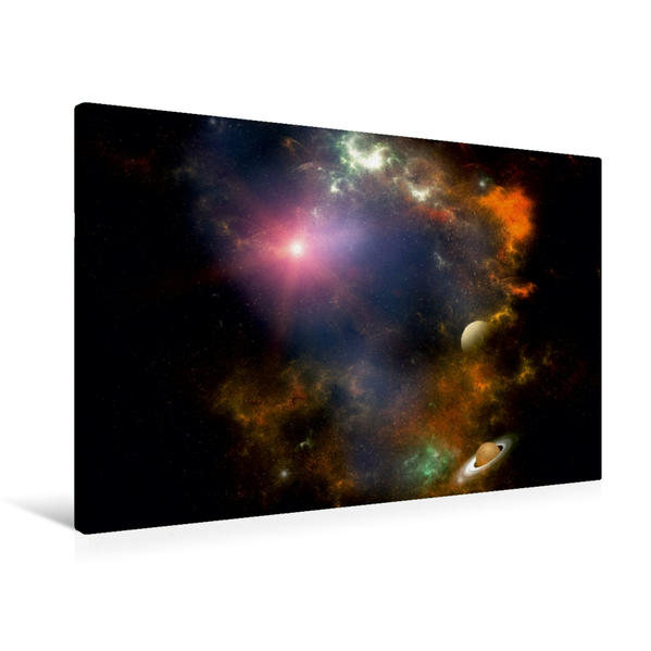 Premium Textil-Leinwand 90 cm x 60 cm quer, In der Galaxie | Wandbild, Bild auf Keilrahmen, Fertigbild auf echter Leinwand, Leinwanddruck - Coverbild
