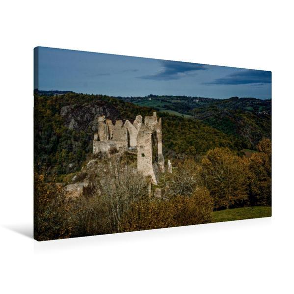 Premium Textil-Leinwand 90 cm x 60 cm quer, Château du Rocher, Puy de Dôme | Wandbild, Bild auf Keilrahmen, Fertigbild auf echter Leinwand, Leinwanddruck - Coverbild