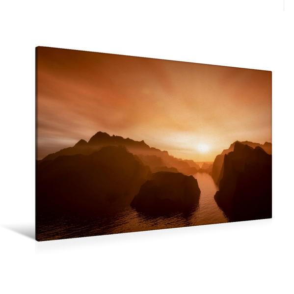 Premium Textil-Leinwand 120 cm x 80 cm quer, Die unbekannte Insel   Wandbild, Bild auf Keilrahmen, Fertigbild auf echter Leinwand, Leinwanddruck - Coverbild