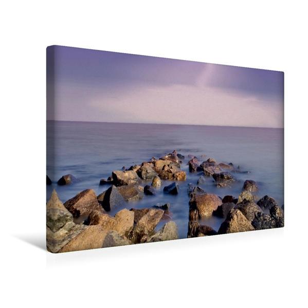 Premium Textil-Leinwand 45 cm x 30 cm quer, Steinbuhnen am Trischendamm | Wandbild, Bild auf Keilrahmen, Fertigbild auf echter Leinwand, Leinwanddruck - Coverbild