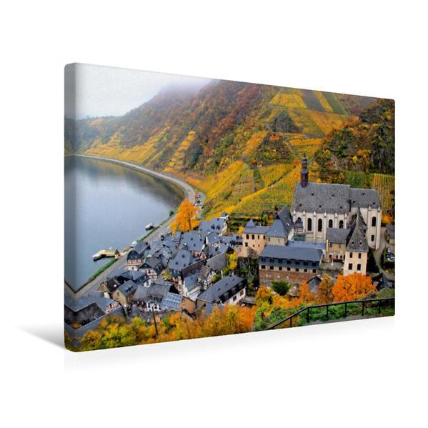Premium Textil-Leinwand 45 cm x 30 cm quer, Blick auf Beilstein von der Burg Metternich | Wandbild, Bild auf Keilrahmen, Fertigbild auf echter Leinwand, Leinwanddruck - Coverbild