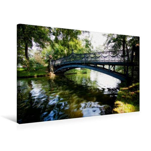 Premium Textil-Leinwand 75 cm x 50 cm quer, Mirow - Brücke zur Liebesinsel | Wandbild, Bild auf Keilrahmen, Fertigbild auf echter Leinwand, Leinwanddruck - Coverbild