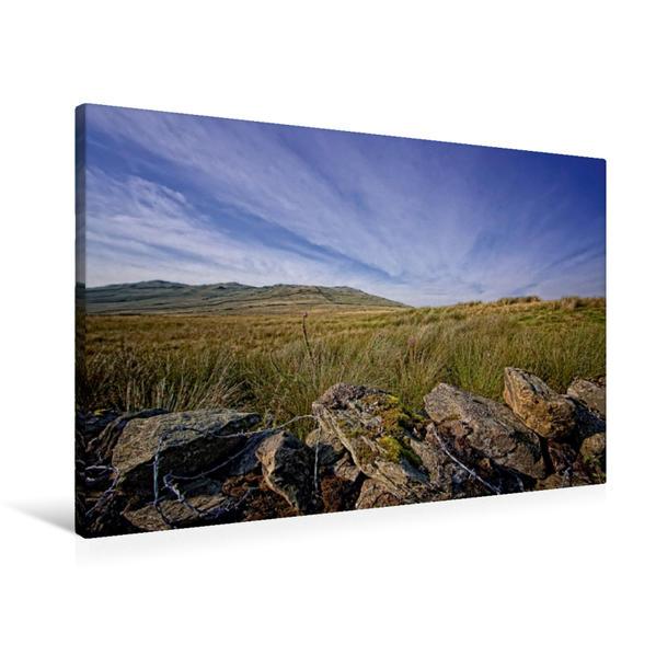 Premium Textil-Leinwand 90 cm x 60 cm quer, Steinmauern am Rand der Weiden   Wandbild, Bild auf Keilrahmen, Fertigbild auf echter Leinwand, Leinwanddruck - Coverbild