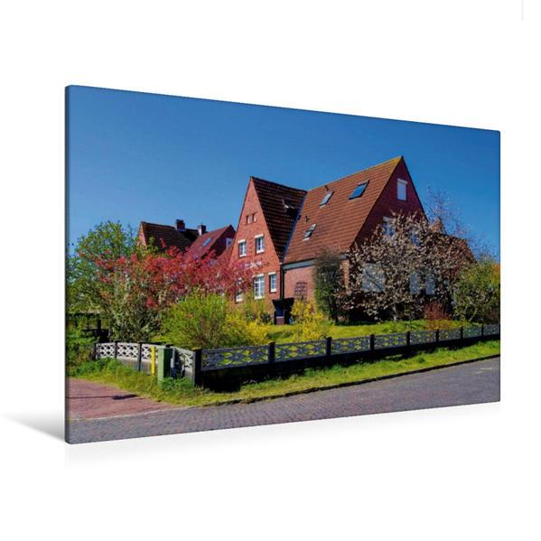 Premium Textil-Leinwand 120 cm x 80 cm quer, Klinkerbauten auf Langeoog | Wandbild, Bild auf Keilrahmen, Fertigbild auf echter Leinwand, Leinwanddruck - Coverbild
