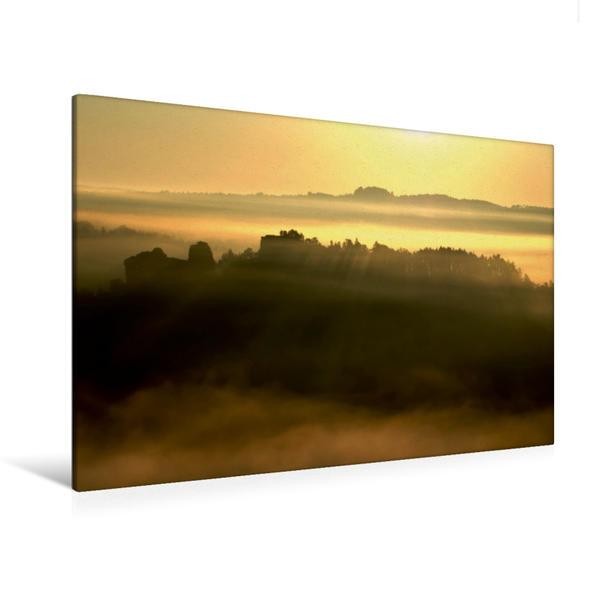 Premium Textil-Leinwand 120 cm x 80 cm quer, Sonnenaufgang im Elbsandsteingebirge | Wandbild, Bild auf Keilrahmen, Fertigbild auf echter Leinwand, Leinwanddruck - Coverbild