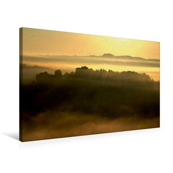 Premium Textil-Leinwand 75 cm x 50 cm quer, Sonnenaufgang im Elbsandsteingebirge | Wandbild, Bild auf Keilrahmen, Fertigbild auf echter Leinwand, Leinwanddruck - Coverbild