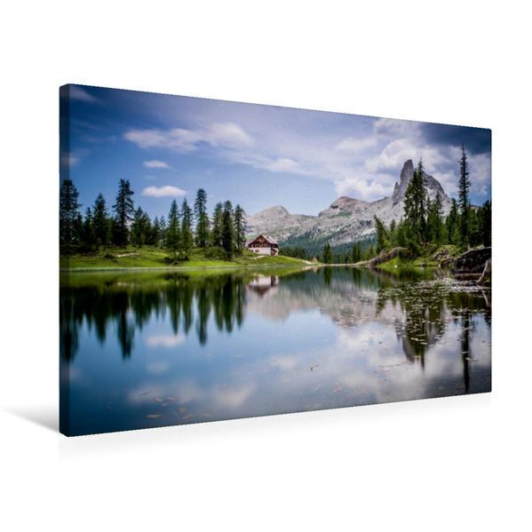 Premium Textil-Leinwand 75 cm x 50 cm quer, Lago di Federa (ital. Dolomiten) | Wandbild, Bild auf Keilrahmen, Fertigbild auf echter Leinwand, Leinwanddruck - Coverbild