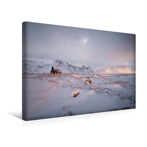 Premium Textil-Leinwand 45 cm x 30 cm quer, Black church of Búðir, West Island | Wandbild, Bild auf Keilrahmen, Fertigbild auf echter Leinwand, Leinwanddruck - Coverbild