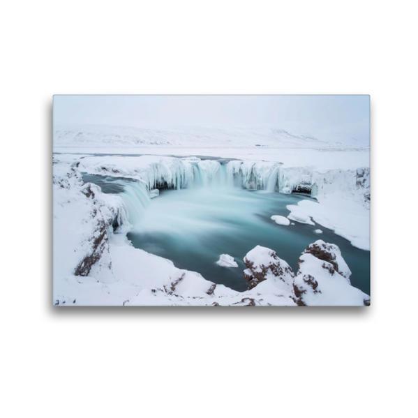Premium Textil-Leinwand 45 cm x 30 cm quer, Goðafoss- Der Götterfall, Nord Island | Wandbild, Bild auf Keilrahmen, Fertigbild auf echter Leinwand, Leinwanddruck - Coverbild