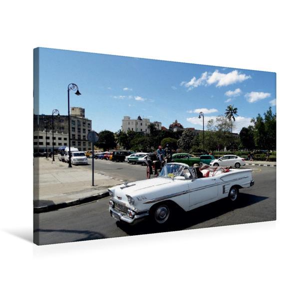 Premium Textil-Leinwand 75 cm x 50 cm quer, Chevrolet in Havanna - Ein Motiv aus dem Kalender