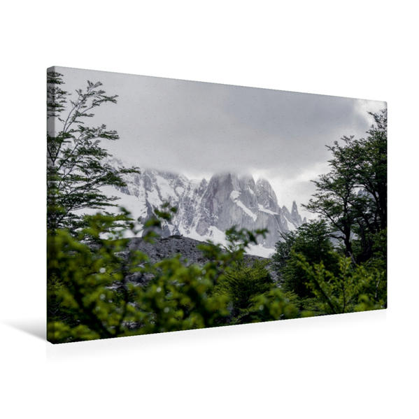 Premium Textil-Leinwand 75 cm x 50 cm quer, Cerro Torre in den Wolken | Wandbild, Bild auf Keilrahmen, Fertigbild auf echter Leinwand, Leinwanddruck - Coverbild