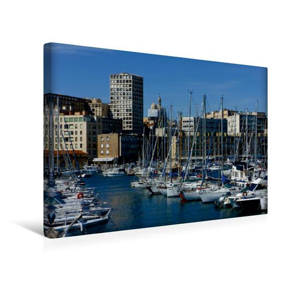 Premium Textil-Leinwand 45 cm x 30 cm quer, Segelboote im Vieux Port in Marseille   Wandbild, Bild auf Keilrahmen, Fertigbild auf echter Leinwand, Leinwanddruck - Coverbild