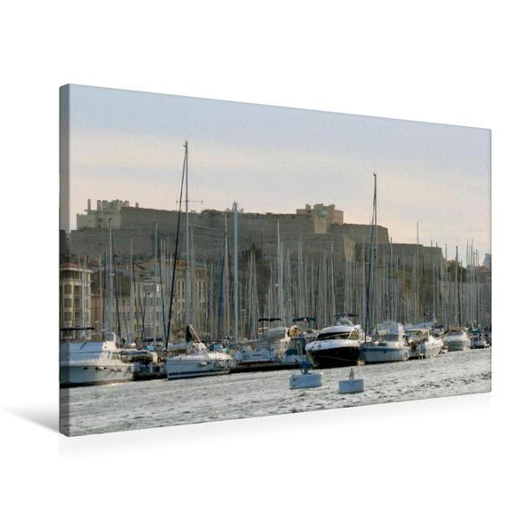 Premium Textil-Leinwand 75 cm x 50 cm quer, Im Vieux Port in Marseille mit Fort Saint Nicolas im Hintergrund | Wandbild, Bild auf Keilrahmen, Fertigbild auf echter Leinwand, Leinwanddruck - Coverbild
