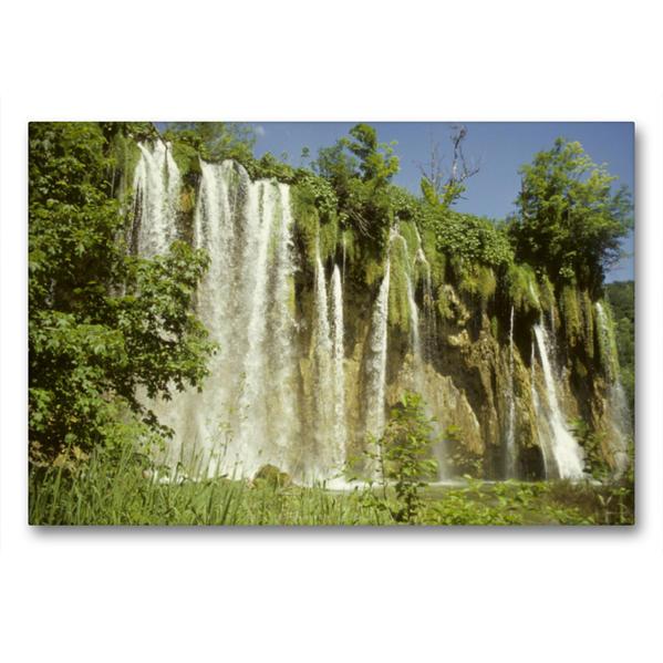 Premium Textil-Leinwand 90 cm x 60 cm quer, Plitvice Nationalpark | Wandbild, Bild auf Keilrahmen, Fertigbild auf echter Leinwand, Leinwanddruck - Coverbild