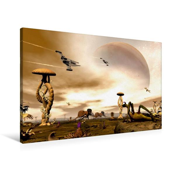 Premium Textil-Leinwand 90 cm x 60 cm quer, Alienwelt | Wandbild, Bild auf Keilrahmen, Fertigbild auf echter Leinwand, Leinwanddruck - Coverbild