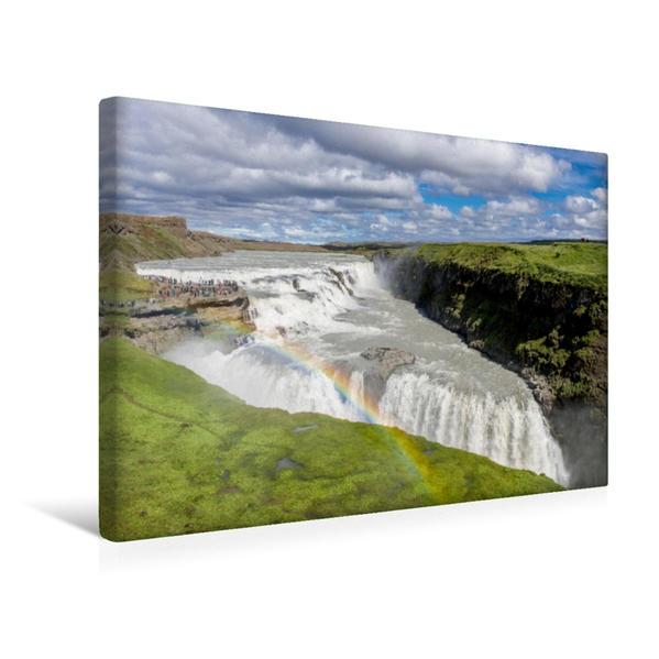 Premium Textil-Leinwand 45 cm x 30 cm quer, Gullfoss | Wandbild, Bild auf Keilrahmen, Fertigbild auf echter Leinwand, Leinwanddruck - Coverbild