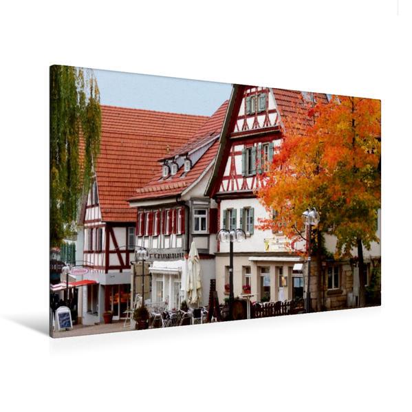 Premium Textil-Leinwand 120 cm x 80 cm quer, Fachwerkhäuser um den Marktplatz Plochingen | Wandbild, Bild auf Keilrahmen, Fertigbild auf echter Leinwand, Leinwanddruck - Coverbild