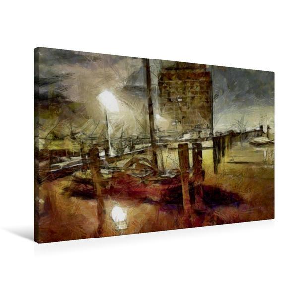 Premium Textil-Leinwand 90 cm x 60 cm quer, Museumshafen Oevelgönne | Wandbild, Bild auf Keilrahmen, Fertigbild auf echter Leinwand, Leinwanddruck - Coverbild