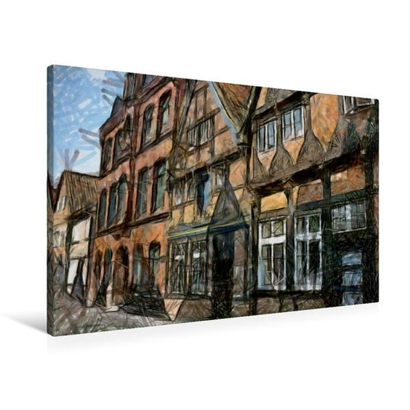 Premium Textil-Leinwand 90 cm x 60 cm quer, Altstadtgasse | Wandbild, Bild auf Keilrahmen, Fertigbild auf echter Leinwand, Leinwanddruck - Coverbild
