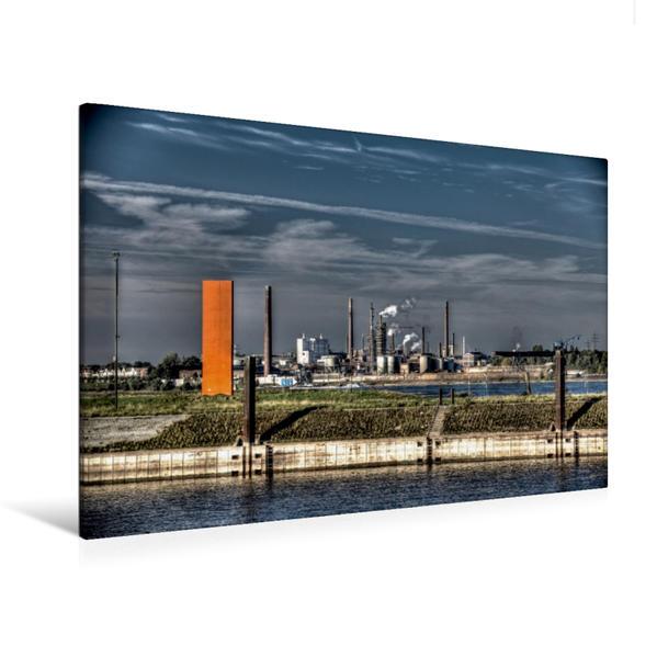 Premium Textil-Leinwand 120 cm x 80 cm quer, Ein Motiv aus dem Kalender Duisburg am Rhein  -  R(h)einblicke | Wandbild, Bild auf Keilrahmen, Fertigbild auf echter Leinwand, Leinwanddruck - Coverbild