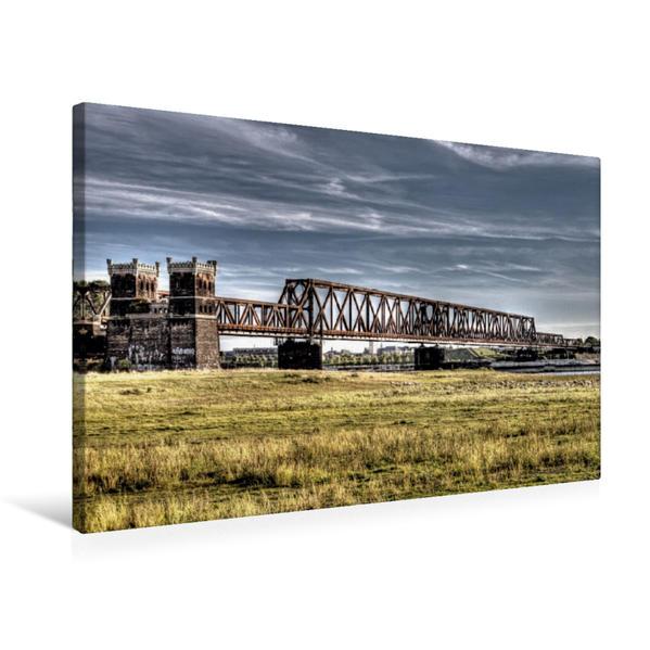 Premium Textil-Leinwand 75 cm x 50 cm quer, Die Hochfelder Eisenbahnbrücke von Rheinhausen aus | Wandbild, Bild auf Keilrahmen, Fertigbild auf echter Leinwand, Leinwanddruck - Coverbild