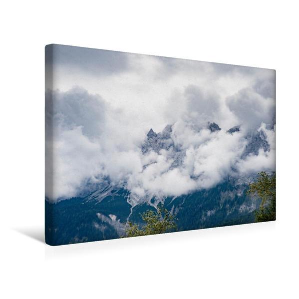 Premium Textil-Leinwand 45 cm x 30 cm quer, Blick auf die Zugspitze. | Wandbild, Bild auf Keilrahmen, Fertigbild auf echter Leinwand, Leinwanddruck - Coverbild
