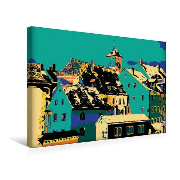 Premium Textil-Leinwand 45 cm x 30 cm quer, Altstadt Regensburg | Wandbild, Bild auf Keilrahmen, Fertigbild auf echter Leinwand, Leinwanddruck - Coverbild